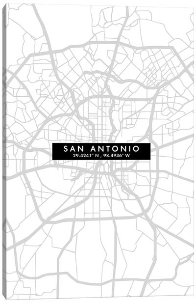 San Antonio City Map Minimal Style Canvas Art Print