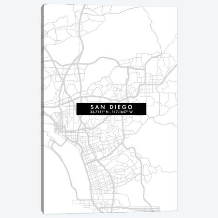 San Diego City Map Minimal Style Canvas Print #WDA1693} by WallDecorAddict Art Print