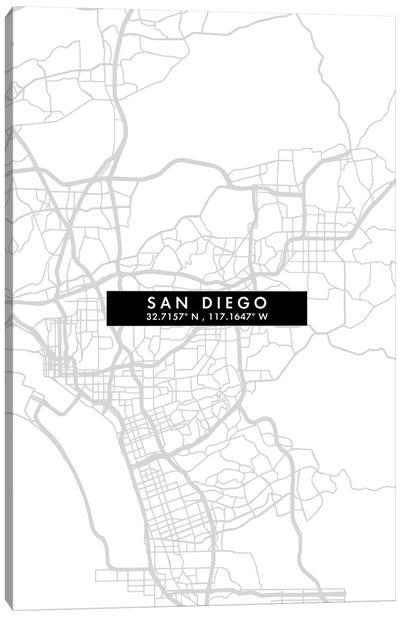 San Diego City Map Minimal Style Canvas Art Print
