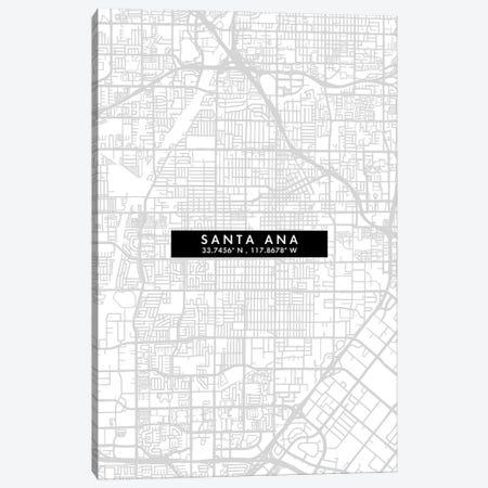 Santa Ana City Map Minimal Style Canvas Print #WDA1694} by WallDecorAddict Canvas Wall Art