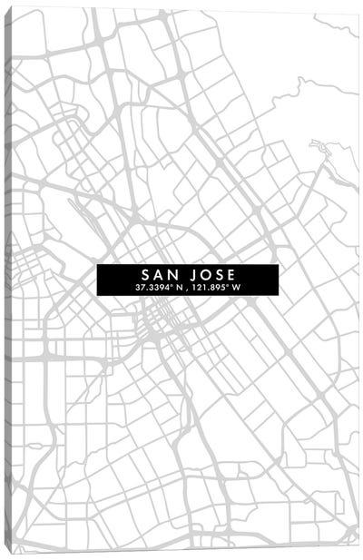 San Jose City Map Minimal Style Canvas Art Print