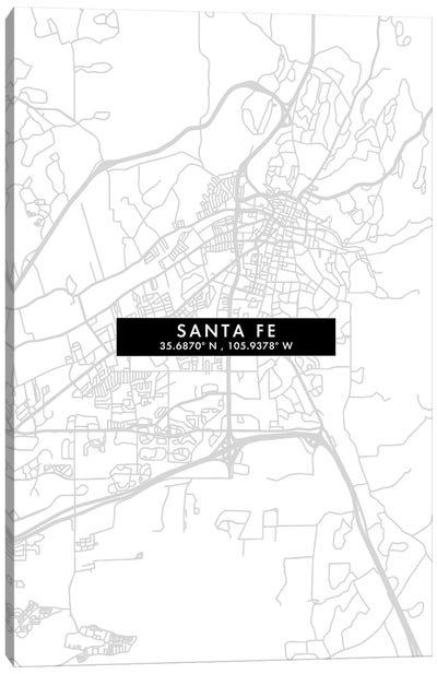 Santa Fe, Argentina City Map Minimal Style Canvas Art Print