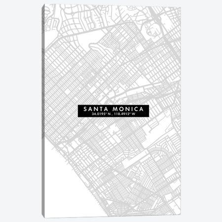 Santa Monica City Map Minimal Style Canvas Print #WDA1697} by WallDecorAddict Canvas Art