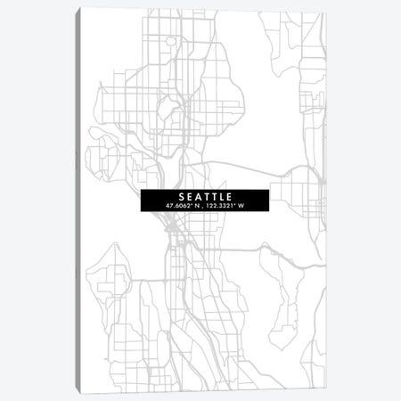 Seattle City Map Minimal Style Canvas Print #WDA1698} by WallDecorAddict Canvas Art Print