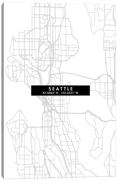 Seattle City Map Minimal Style Canvas Art Print