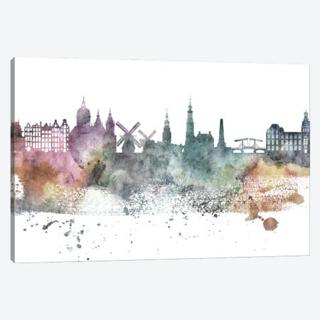 Amesterdam Pastel Skylines Canvas Print #WDA16} by WallDecorAddict Art Print
