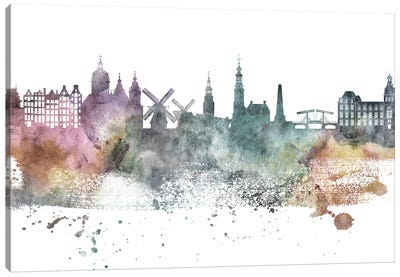 Amesterdam Pastel Skylines Canvas Art Print