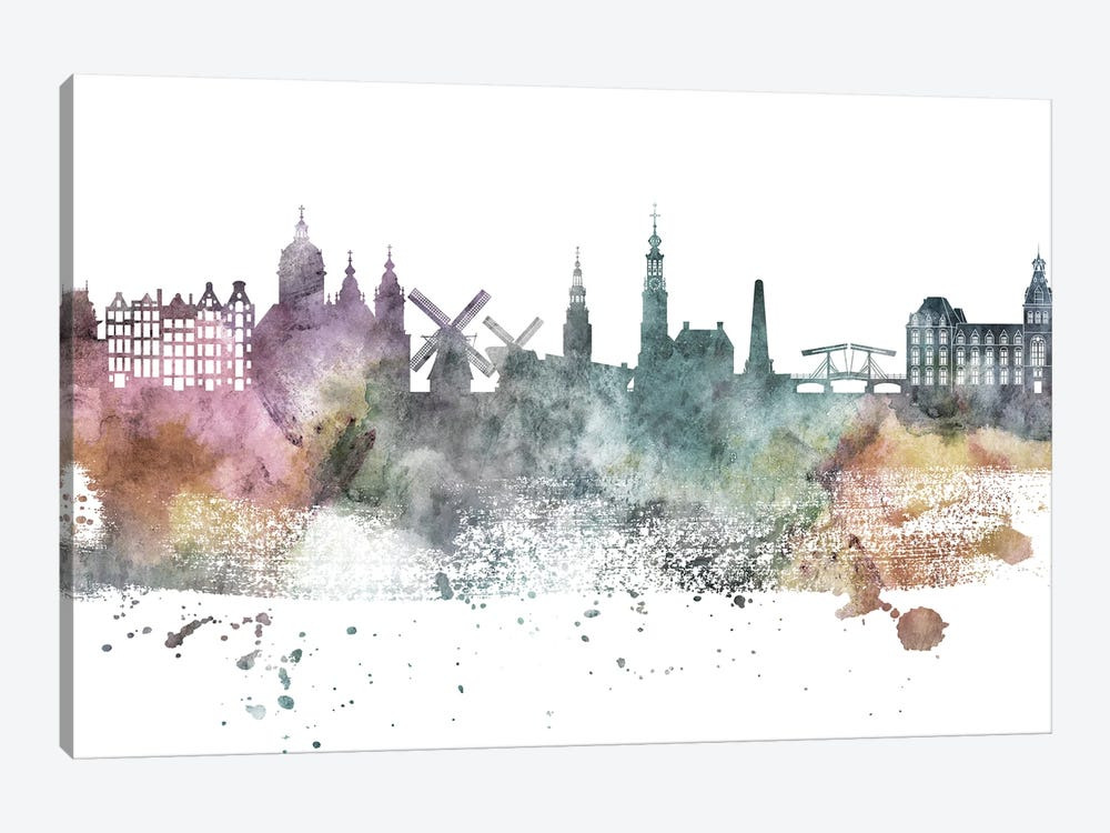 Amesterdam Pastel Skylines by WallDecorAddict 1-piece Canvas Art
