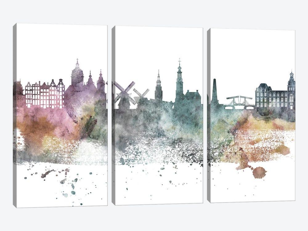 Amesterdam Pastel Skylines by WallDecorAddict 3-piece Canvas Art