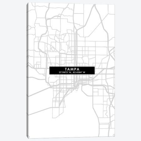 Tampa, Florida City Map Minimal Style Canvas Print #WDA1706} by WallDecorAddict Canvas Art