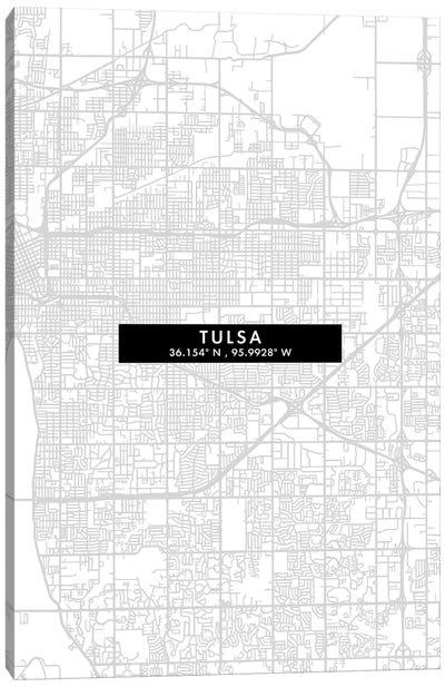 Tulsa City Map Minimal Style Canvas Art Print
