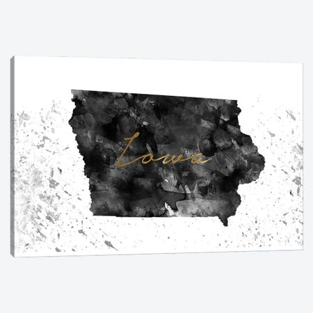 Iowa Black And White Gold Canvas Print #WDA170} by WallDecorAddict Canvas Art Print
