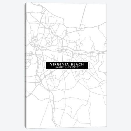 Virginia Beach City Map Minimal Style Canvas Print #WDA1710} by WallDecorAddict Canvas Artwork