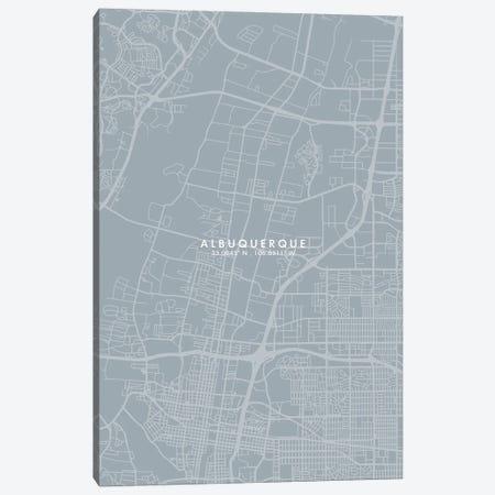Albuquerque, New Mexico, City Map Grey Blue Style Canvas Print #WDA1713} by WallDecorAddict Canvas Art