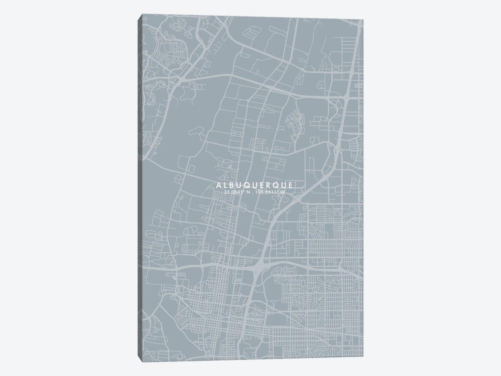 Albuquerque, New Mexico, City Map Grey Blue Style by WallDecorAddict 1-piece Canvas Print