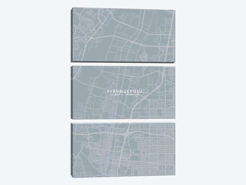 Albuquerque, New Mexico, City Map Grey Blue Style by WallDecorAddict 3-piece Canvas Art Print