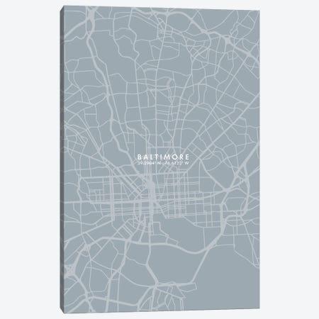 Baltimore City Map Grey Blue Style Canvas Print #WDA1721} by WallDecorAddict Canvas Art Print