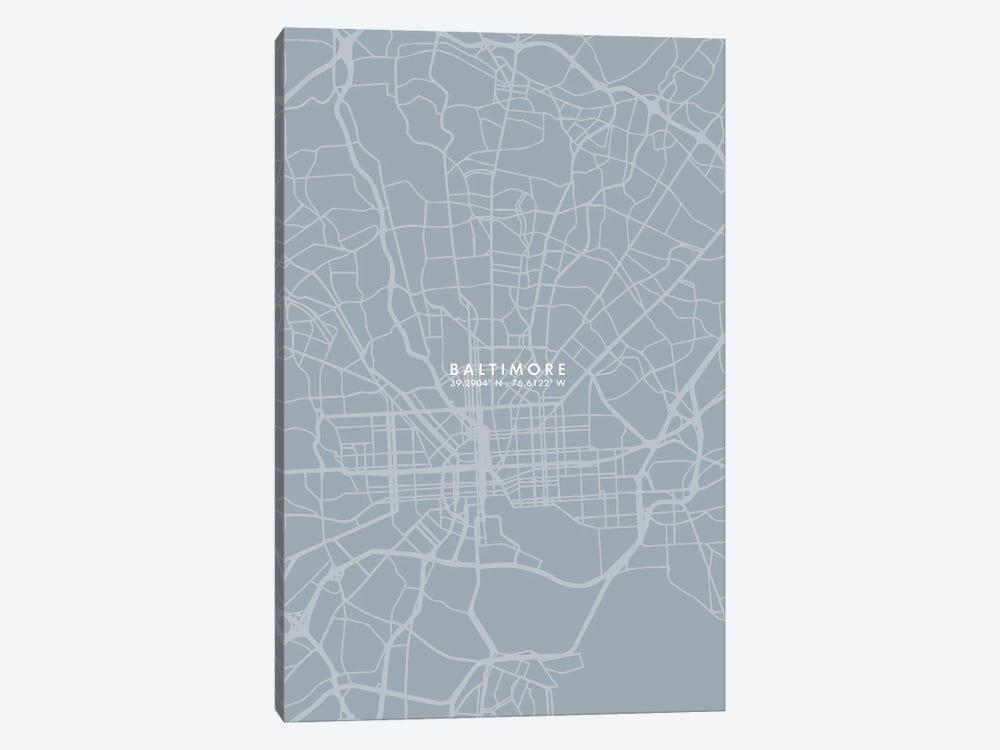Baltimore City Map Grey Blue Style by WallDecorAddict 1-piece Canvas Art