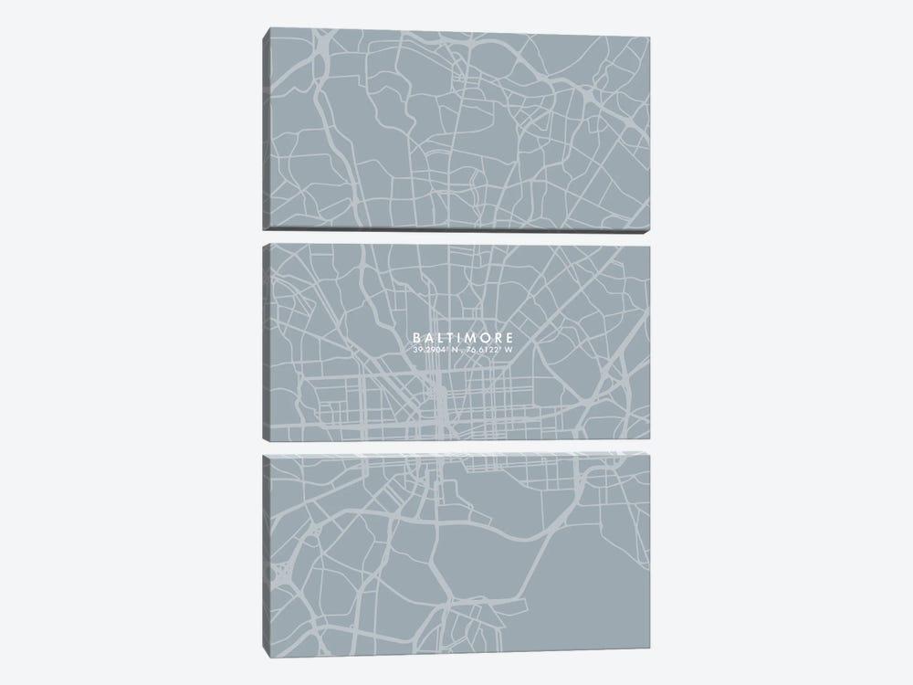 Baltimore City Map Grey Blue Style by WallDecorAddict 3-piece Canvas Art
