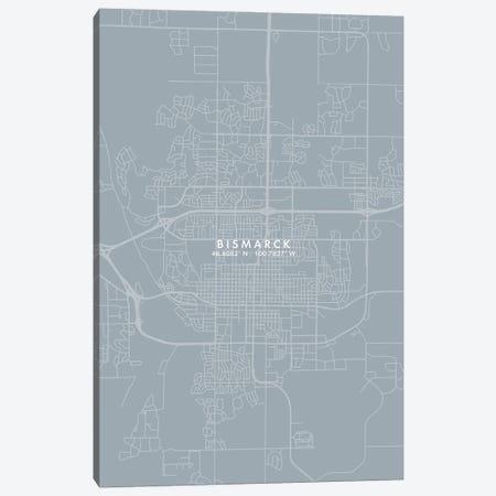 Bismarck, North Dakota City Map Grey Blue Style Canvas Print #WDA1725} by WallDecorAddict Canvas Art