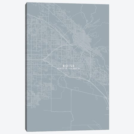 Boise City Map Grey Blue Style Canvas Print #WDA1726} by WallDecorAddict Canvas Wall Art