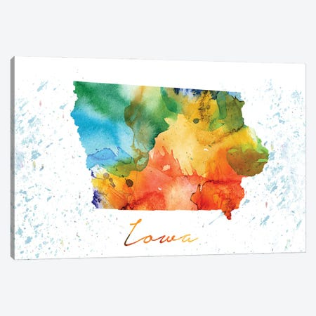 Iowa State Colorful Canvas Print #WDA172} by WallDecorAddict Canvas Print
