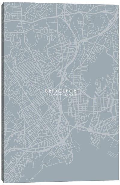 Bridgeport, Connecticut City Map Grey Blue Style Canvas Art Print