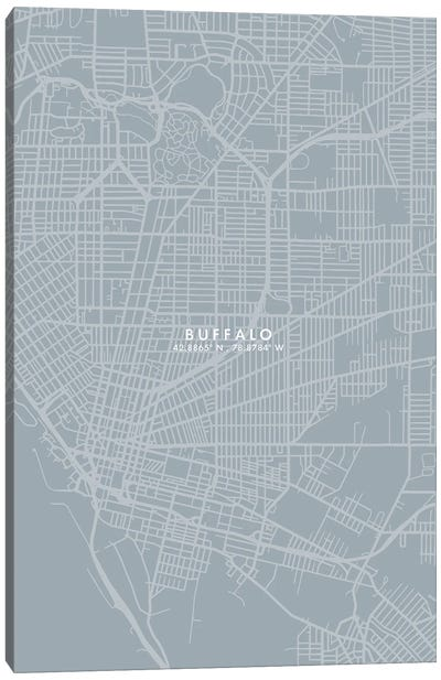 Buffalo City Map Grey Blue Style Canvas Art Print