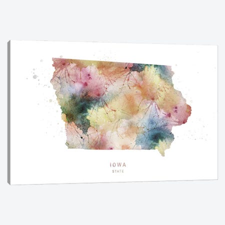 Iowa Watercolor State Map Canvas Print #WDA173} by WallDecorAddict Art Print