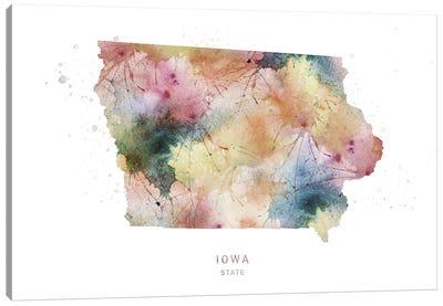 Iowa Watercolor State Map Canvas Art Print