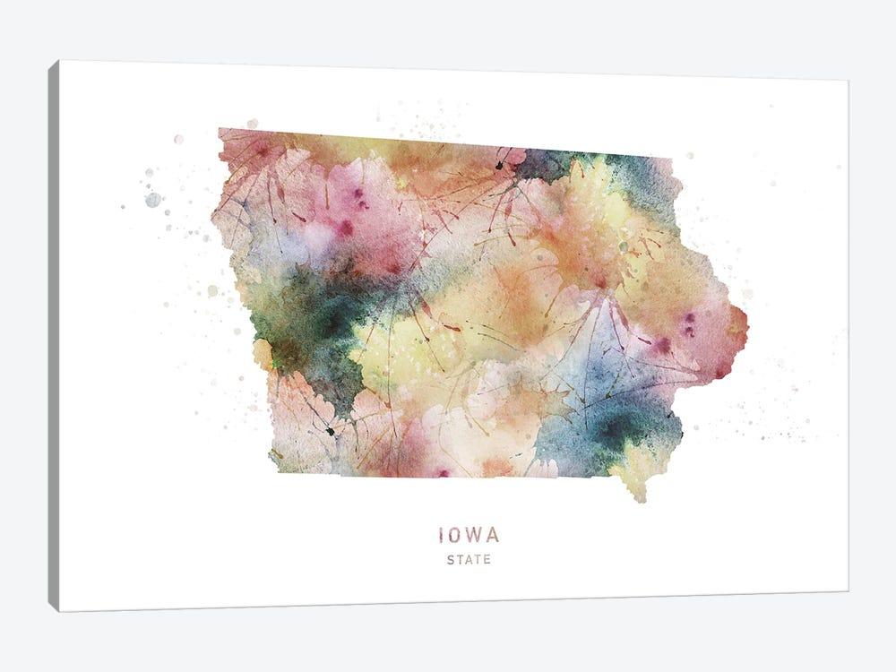 Iowa Watercolor State Map by WallDecorAddict 1-piece Canvas Artwork