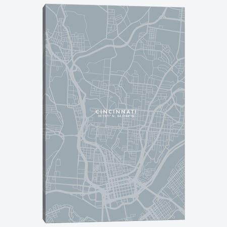 Cincinnati City Map Grey Blue Style Canvas Print #WDA1741} by WallDecorAddict Canvas Print