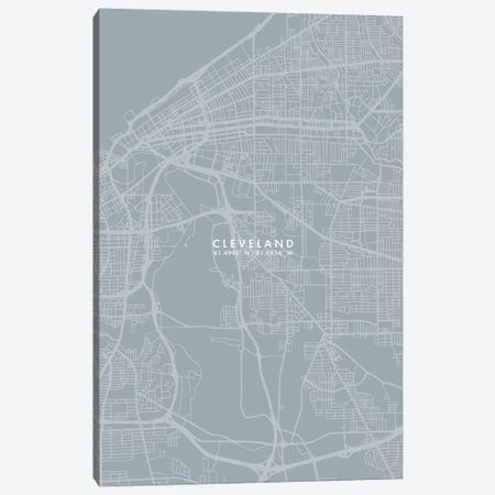 Cleveland City Map Grey Blue Style Canvas Print #WDA1742} by WallDecorAddict Canvas Print