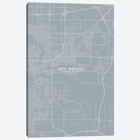 Des Moines City Map Grey Blue Style Canvas Print #WDA1745} by WallDecorAddict Canvas Wall Art