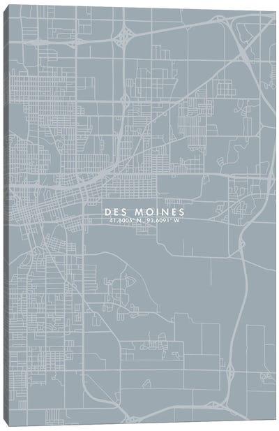 Des Moines City Map Grey Blue Style Canvas Art Print