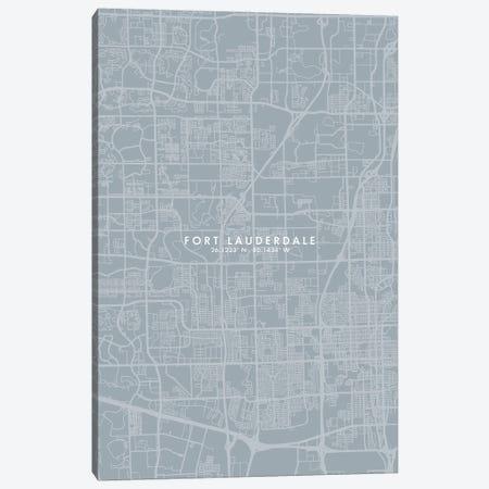 Fort Lauderdale City Map Grey Blue Style Canvas Print #WDA1748} by WallDecorAddict Art Print
