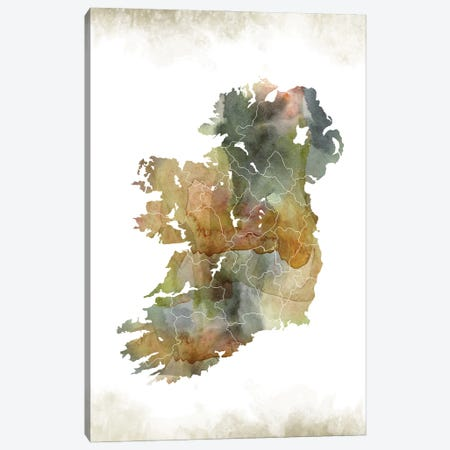 Ireland Greenish Map Canvas Print #WDA174} by WallDecorAddict Canvas Wall Art