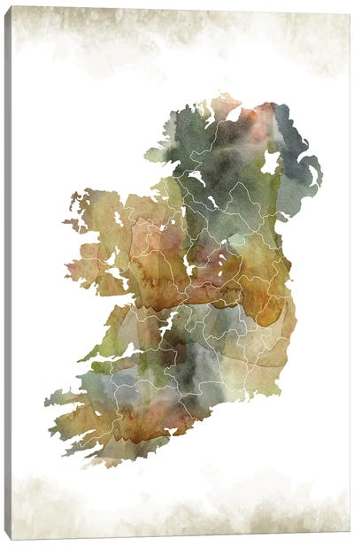 Ireland Greenish Map Canvas Art Print