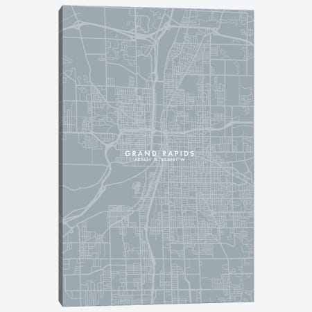 Grand Rapids City Map Grey Blue Style Canvas Print #WDA1753} by WallDecorAddict Canvas Wall Art