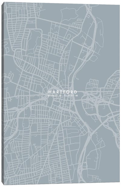 Hartford City Map Grey Blue Style Canvas Art Print
