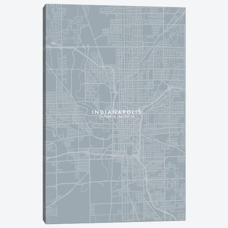 Indianapolis City Map Grey Blue Style Canvas Print #WDA1757} by WallDecorAddict Canvas Art Print