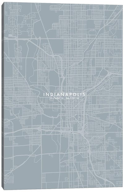 Indianapolis City Map Grey Blue Style Canvas Art Print