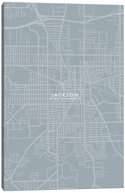 Jackson Michigan City Map Grey Blue Style Canvas Art Print