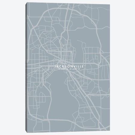 Jacksonville City Map Grey Blue Style Canvas Print #WDA1759} by WallDecorAddict Canvas Art
