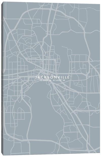 Jacksonville City Map Grey Blue Style Canvas Art Print