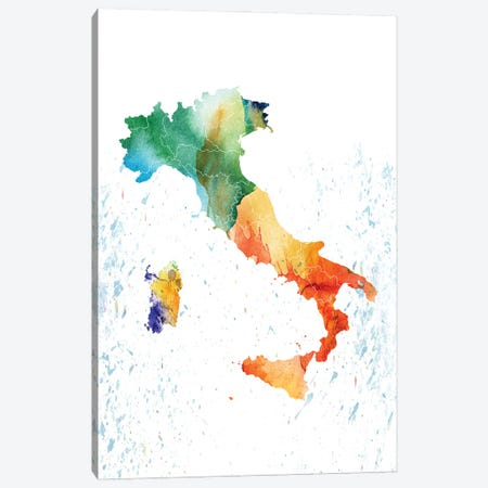 Italy Colorful Map Canvas Print #WDA175} by WallDecorAddict Canvas Art