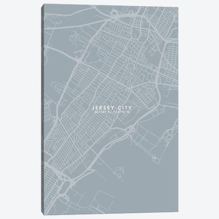Jersey City, New Jersey, City Map Grey Blue Style Canvas Print #WDA1760} by WallDecorAddict Canvas Print