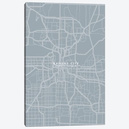 Kansas City City Map Grey Blue Style Canvas Print #WDA1761} by WallDecorAddict Art Print