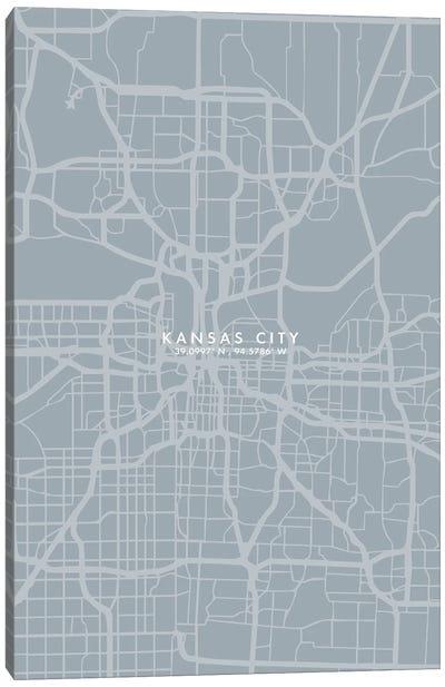 Kansas City City Map Grey Blue Style Canvas Art Print