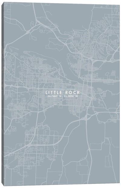 Little Rock City Map Grey Blue Style Canvas Art Print